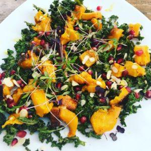 Warm crispy kale and squash salad
