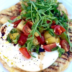 Rosemary & Garlic Flatbread Pizza with Burrata and Balsamic Tomatoes
