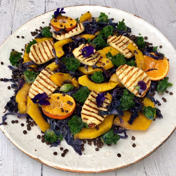 Squash, Kale, Red Cabbage and Halloumi Salad