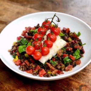 Haddock with Chorizo and Puy Lentils