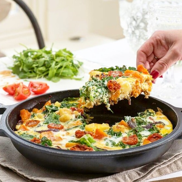 Butternut Squash, Spinach and Goats Cheese Frittata