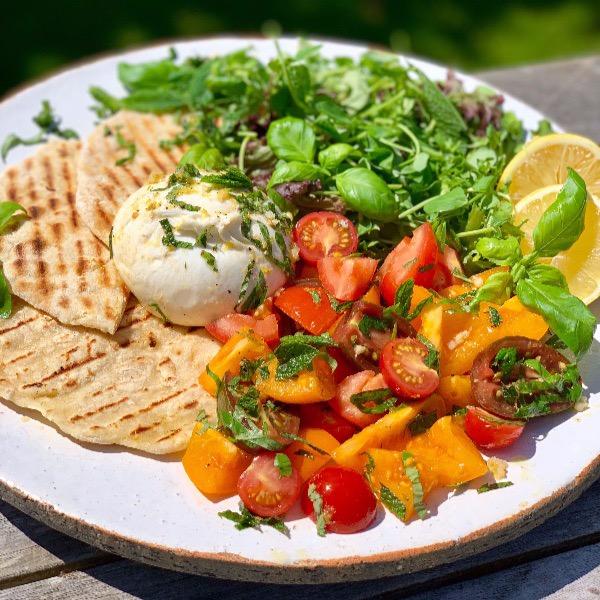 Marinated Burrata and Tomato Salad
