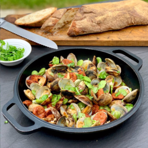 Clams with Broad Beans and Chorizo.