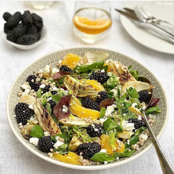 Buckwheat, Seared Fennel, Blackberry, Feta & Orange Salad with Orange Dressing
