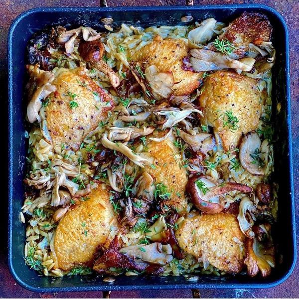 Chicken, Woodland Mushroom & Orzo Traybake