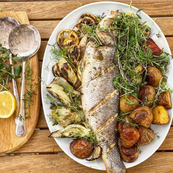 Barbecued Whole Sea Bass