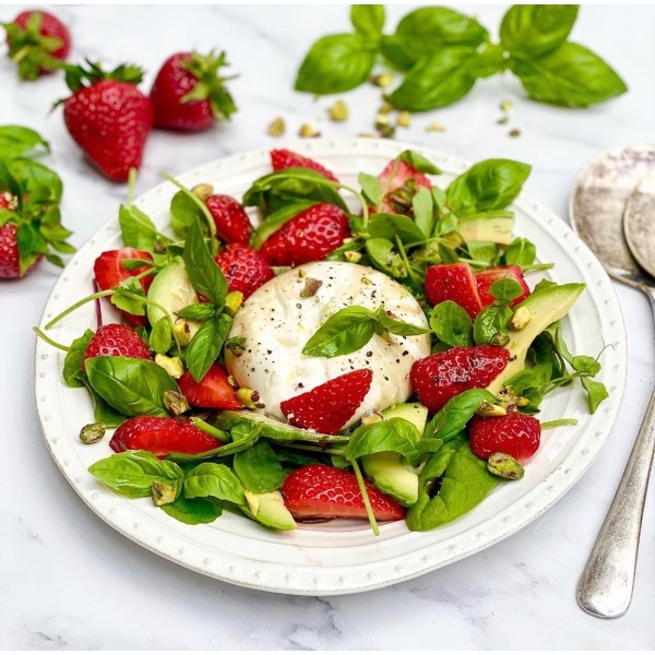 Burrata, Strawberry & Avocado Salad with Balsamic, Basil & Pistachios.
