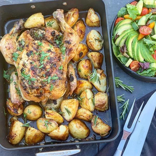 Black Garlic and Herby Butter Roast Chicken