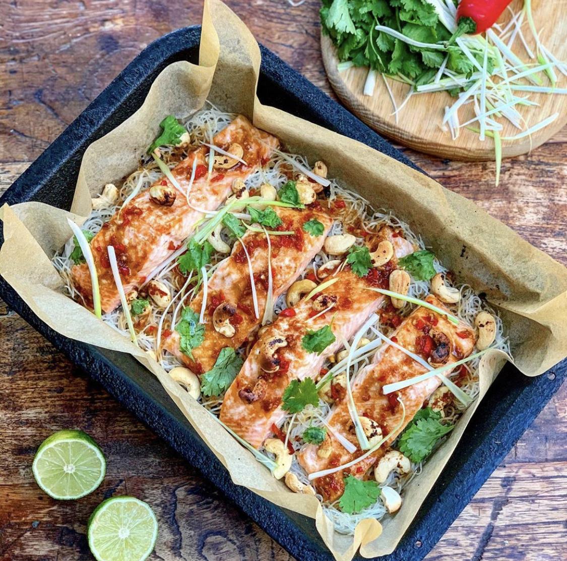 Honey & Soy Salmon, Noodle & Cashew Tray Bake