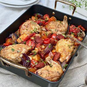 Spanish Chorizo, Chicken, Vegetable & Butter Bean Traybake