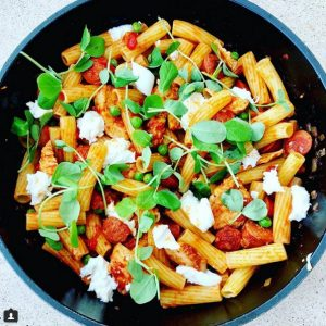 Chicken and Chorizo Pasta with Peas