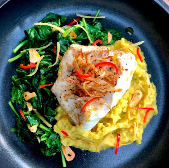 Spiced Monkfish on Curried Cauliflower Puree