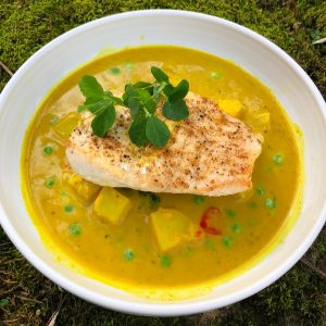 Spiced Halibut with Malaysian Potato & Pea Broth