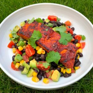 South Western Salmon with Black Bean, Avocado and Sweetcorn Salsa