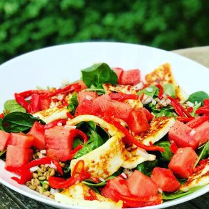 Watermelon, Halloumi and Giant Couscous Salad with Balsamic Glaze