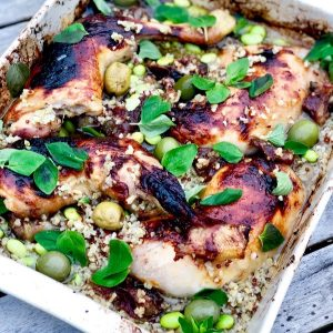 Chicken with Capers, Dates, Olives & Quinoa