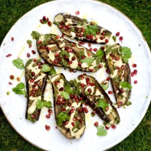 Charred Aubergines with Tahini & Coriander Dressings