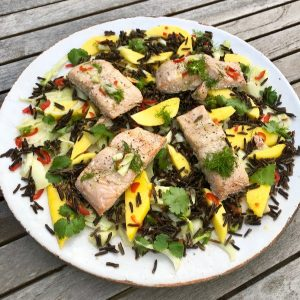 Roasted Salmon with Mango, Fennel & Wild Rice Salad