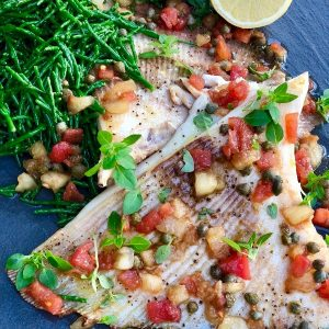 Roasted Skate Wings With Tomato Salad Samphire