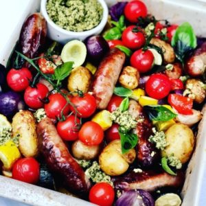 Sausage Tray Bake with Fresh Pesto