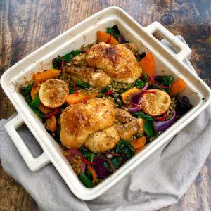 Roast Baharat Chicken, Freekeh and Squash