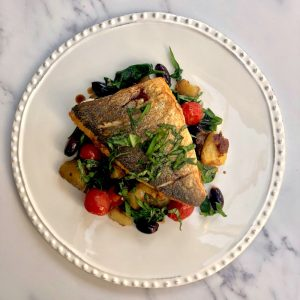 Sea Bream with Crushed Potato Caponata