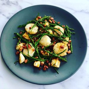 Scallops with Celeriac, Pancetta and Samphire