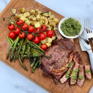 Cote de Boeuf With Roasted Asparagus & Tomatoes