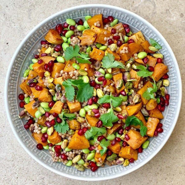 Giant Couscous, Sweet Potato and Edamame Salad