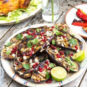 Pomegranate Molasses & Tahini Dressed Aubergines