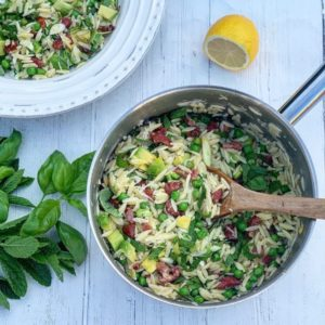 Orzo with Pea, Bacon and Avocado