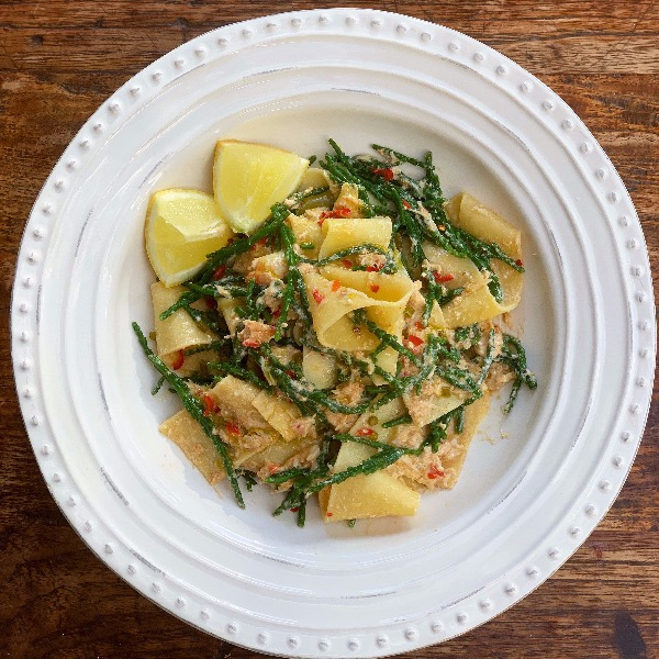 Crab and Samphire Pasta with Lemon Butter