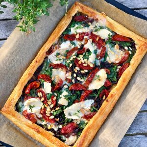 Spinach, Caramelised Onion, Smokey Tomato and Goats Cheese Tart
