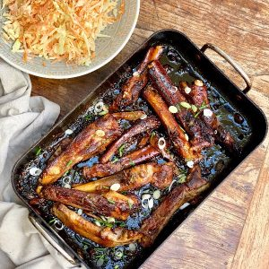 Sticky Pork Ribs & Coleslaw