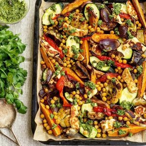 Vegetable, Chickpea & Halloumi Traybake with Zhoug