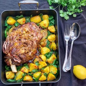 Indian Lamb Shoulder with Saag Aloo