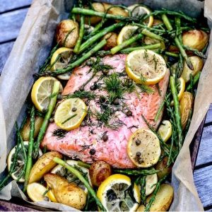 Salmon, Asparagus and New Potato Tray Bake