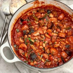Spanish Chicken, Chorizo and Bean One Pot