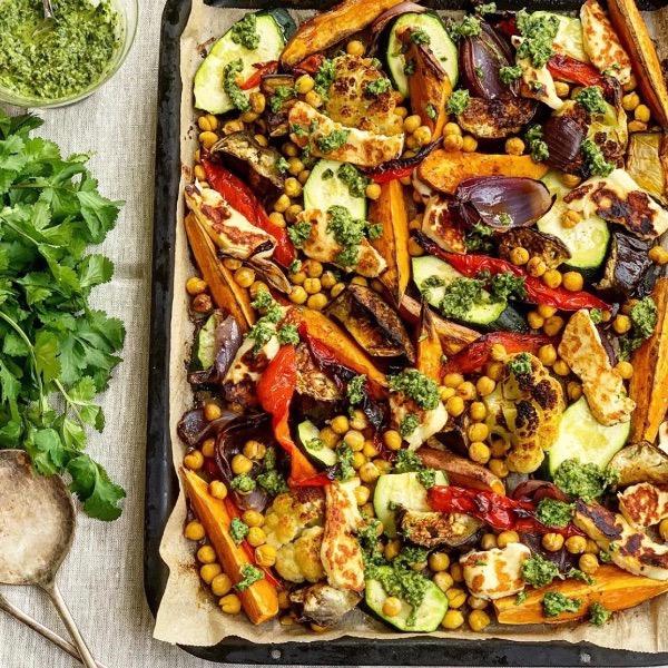 Vegetable, Chickpea & Halloumi Traybake with Zhoug