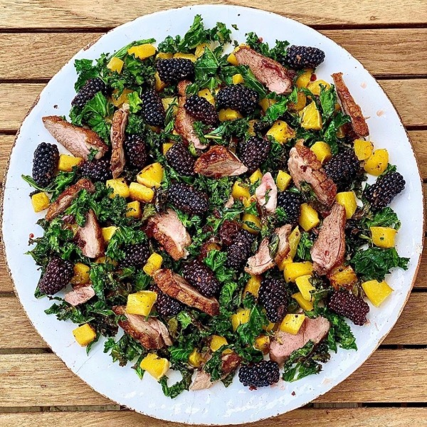 Duck with Crispy Kale, Squash and Blackberry Vinaigrette