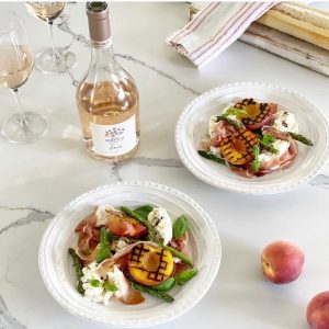 Charred Peach, Asparagus, Mozzarella and prosciutto Salad