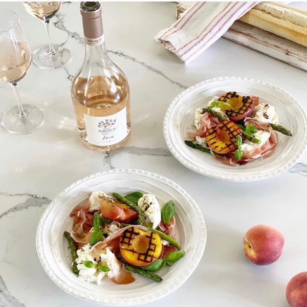 Charred Peach, Asparagus, Mozzarella and prosciutto Salad