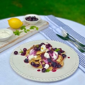 Blueberry Pancakes with Blueberry Coulis