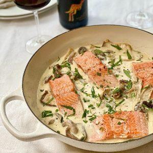 Salmon with Creamy Mushroom & Tarragon Sauce