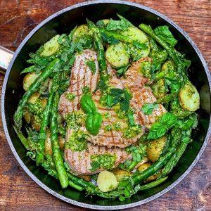 Tuna, Potato, Greens & Pesto One Pot