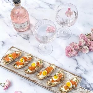 Gin Cured Smoked  Salmon & Quails Egg Crostini